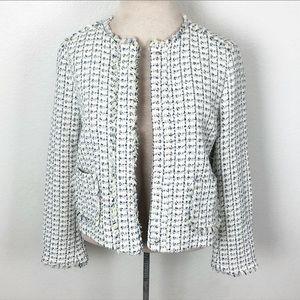 ZARA Tweed Frayed Hem Jacket Blazer Size Small